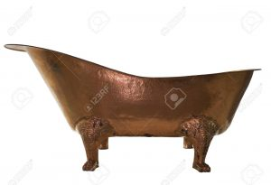 The bathtub copper on isolated background