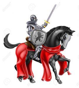 49632196-un-cavaliere-che-impugna-una-spada-e-scudo-sul-dorso-di-un-cavallo-nero