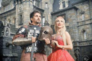 51849638-cavaliere-medievale-con-la-sua-amata-donna-antico-castello-sullo-sfondo-